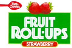 The Fruit Roll-Up logo on the front of the box later featured fruit related to the specific flavor. Here, two strawberries adorn the logo on a box of Strawberry Fruit Roll-Ups.