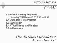 TV AM schedule November 1 1968