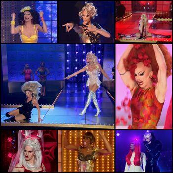 Some of the most famous fan-favorite lipsync performances. From top left: Manila vs Delta (S3), Morgan vs Sonique (S2), Brooke vs Yvie (S11), Alyssa vs Tatianna (AS2), Sasha vs Shea (S9), Jinkx vs Detox (S5), Dida vs The Princess (S4), Raven vs Jujubee (AS1).