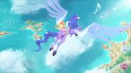 Amaru flies over the islands