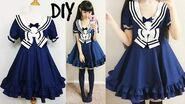 DIY Easy Navy Sailor Dress (Short Sleeves) Step by Step with Pattern & Pattern Making