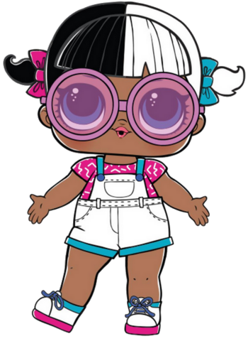 Artwork of the Baby Next Door Doll featured as an exclusive to the L.O.L. Surprise House and the rerelease in the Color Change Surprise series.
