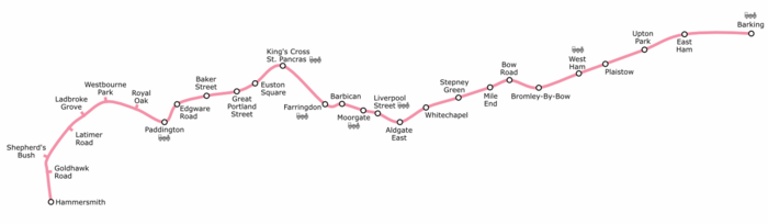 Geographically accurate path of the Hammersmith & City line