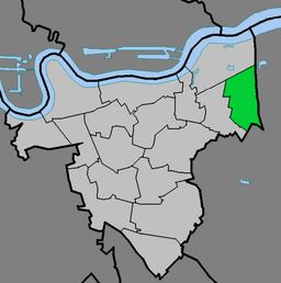 The ward of Abbey Wood (green) within London Borough of Greenwich (light grey)