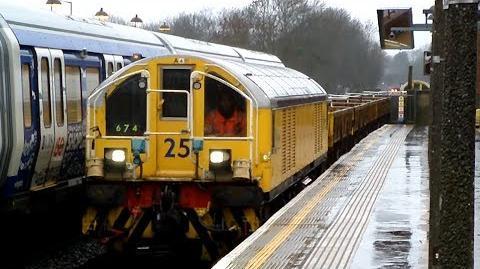 London Underground Battery locos 25+54 on Engineers Train 674 @ Rayners Lane 30 12 13