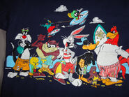 Vintage 90's Blue Warner brothers Characters Taz Sylvester Tweety Bird Bugs Daffy Foghorn Marvin Cotton Tshirt Fits Adult XL Excellent