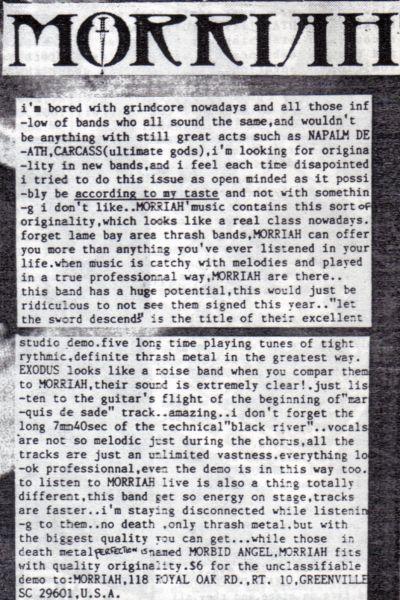 "Morriah Album ""Let the Sword Descend"" (Limited Release 1980s-1990s Demo Tape)"