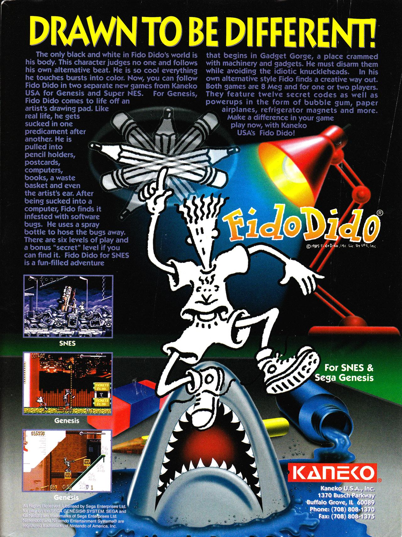 Fido Dido (Unreleased 1993 SNES/Sega Genesis Game)
