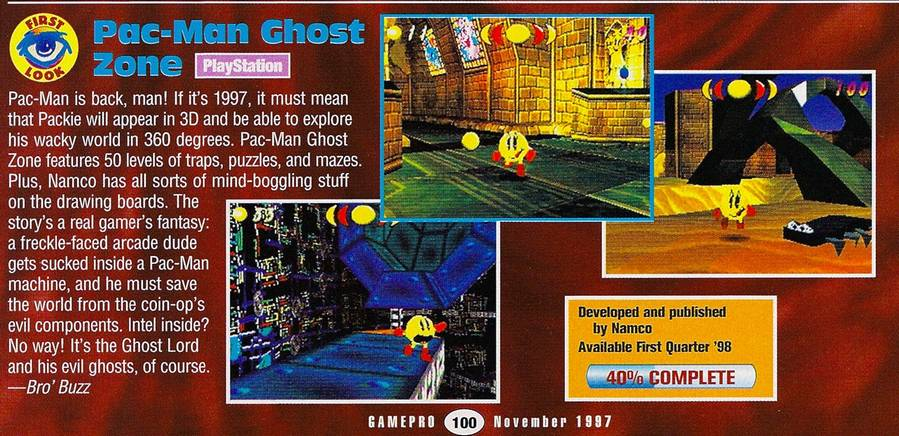 Pac-Man Ghost Zone (1996 Cancelled PSX game/Pac-Man World precursor)