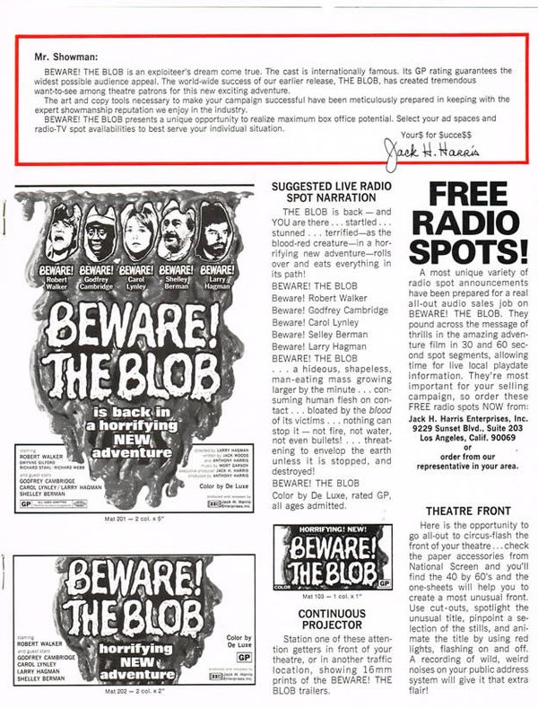 Beware! The Blob (1972) Radio Spot