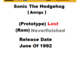 Sonic The Hedgehog Amiga Port (June 1992)