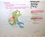 Land Before Time, Original 1988 - Don Bluth Studios - Color model Cel and matching drawing with color painting instructions of Ducky -2