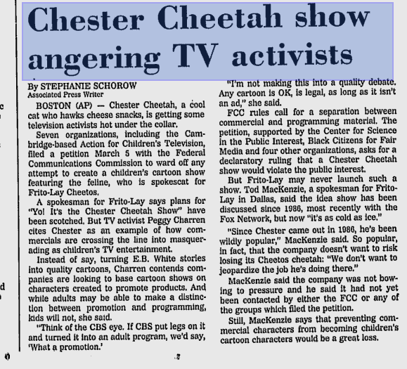 Yo! It's the Chester Cheetah Show (Cancelled 1986-1992 Series With Miscellaneous Production)
