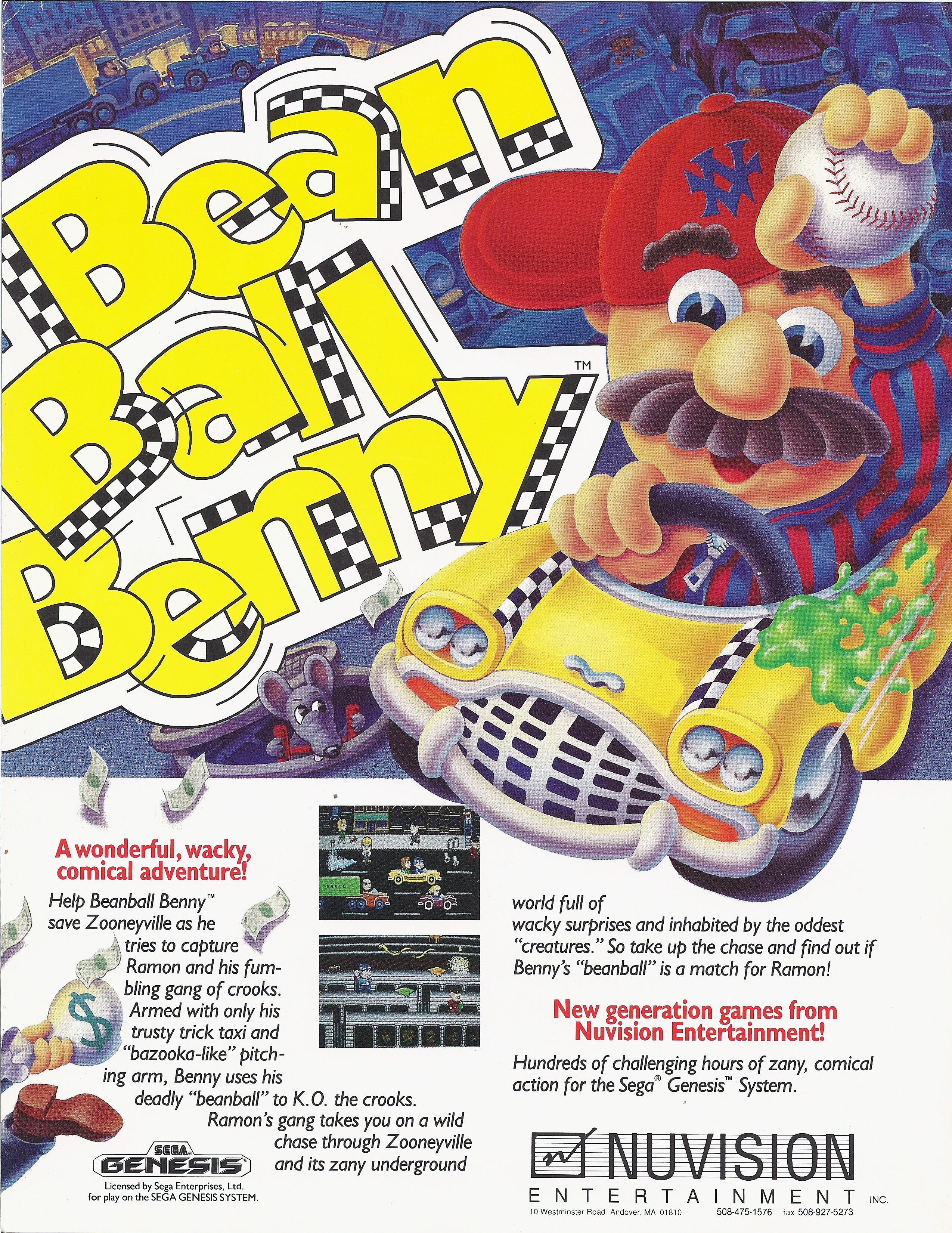 Bean Ball Benny (Cancelled 1991 Sega Genesis Video Game)