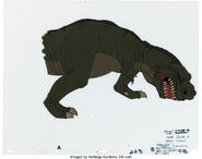 The Land Before Time Sharptooth Model Cel and Drawing Don Bluth, 1988 1