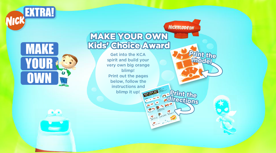 Nickelodeon Kids' Choice Awards blimp papercraft (Lost Nick.com downloadable, 2007)