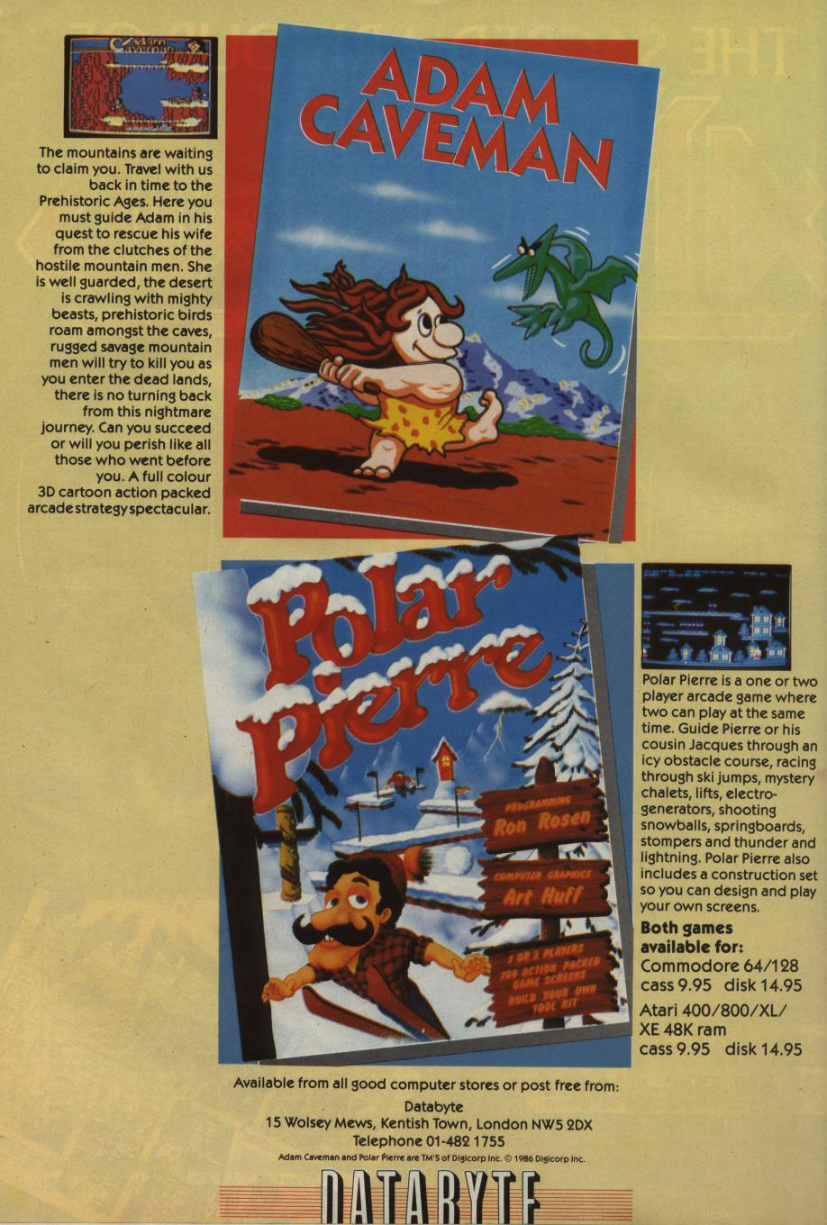 Adam Caveman(lost Commodore 64, & Atari 400 game)
