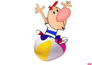 Billy sitpops a beach ball.png