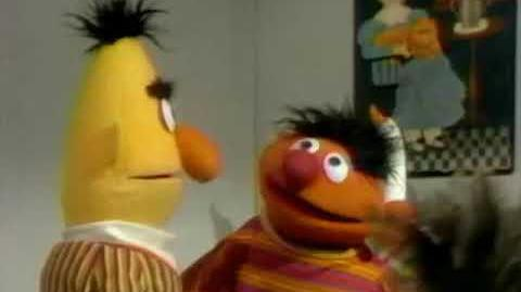 Ernie dusts the shelf (Lost 1969 Sesame Street Ernie and Bert sketch)