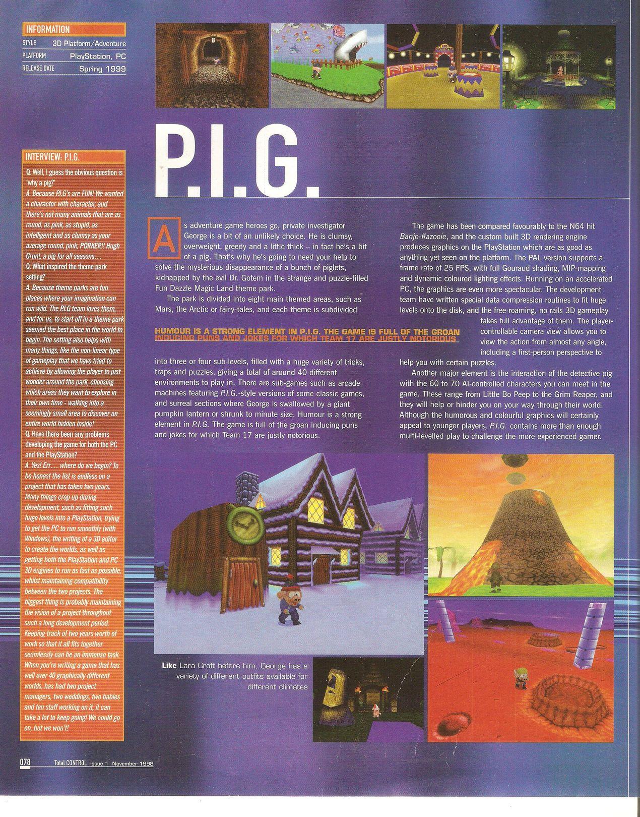 P.i.G. (Cancelled 1996-1999 PlayStation/PC Platform Game)