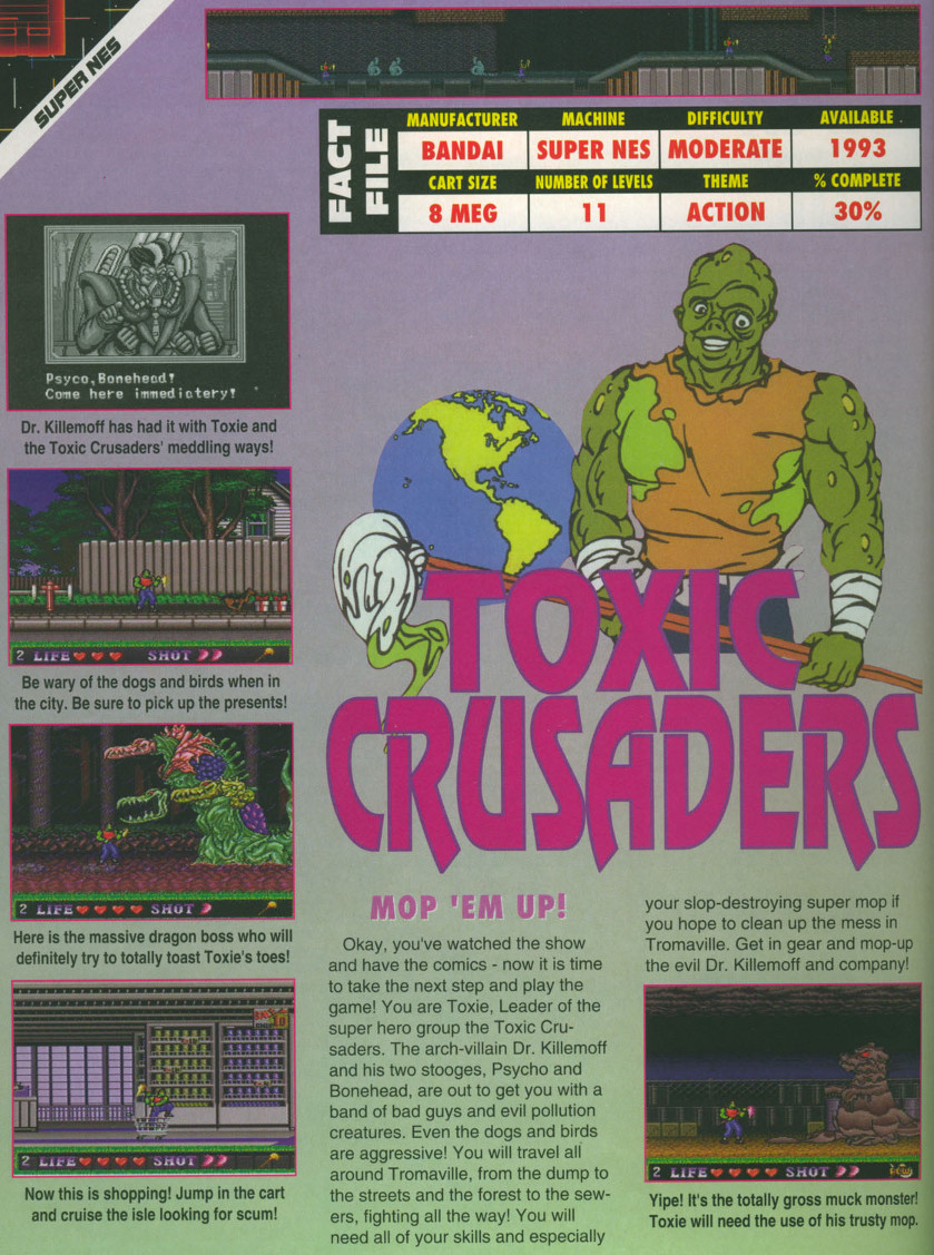 Toxic Crusaders (Cancelled 1992 SNES Game)