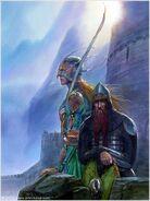 John Howe — Legolas and Gimli at Helm's Deep