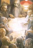 Гэндальф показывает гномам Торина Дубощита тайную карту Одинокой горы