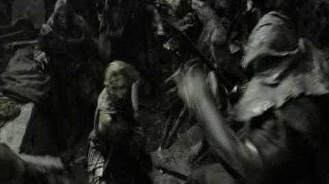 Return of the King Orcs of Mordor fighting eachother