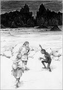 Голлум указывает Фродо на Мораннон