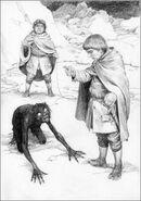 Фродо освобождает Голлума и берёт у него клятву верности