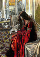 Arwen reading colored by ainulaire