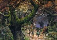 Арагорн ведёт хоббитов из Заверти в Ривенделл после того, как Фродо был ранен моргульским клинком