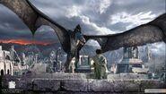 Назгул на крылатой твари пытается забрать у Фродо Кольцо в Осгилиате