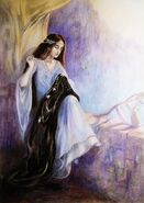 Arwen sewing Aragorn's banner of the White Tree of Gondor