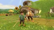 Samwise Gamgee with the protagonist in the Shire gameplay, his son, Frodo Gamgee
