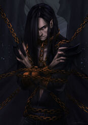 Melkor chained in the halls of mandos by rosythorns-d8iysgh.jpg