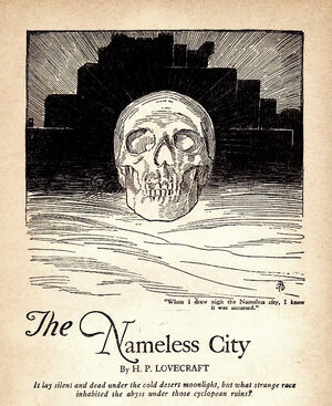 A beautiful line drawing by A. R. Tilburne, which appeared in the November 1921 Weird Tales reprint.