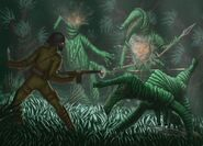 An altercation between humans and Venusians (Mark W. Foster)