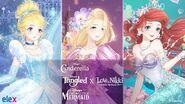 Cinderella, The Little Mermaid, & Tangled x Love Nikki Crossover