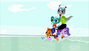 Pets waterskiing