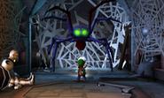 Supraente Gruñón en forma de araña atacando a Luigi