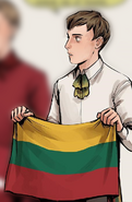 Lithuania holding its flag