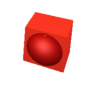 Boxed red ball