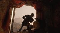 Эдуард отбивается от зверочеловека
