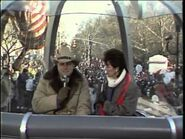 Larry and Linda Gray hosting the 1983 Macy's Day Parade.