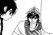 Sinbad pidiéndole un favor a Aladdin