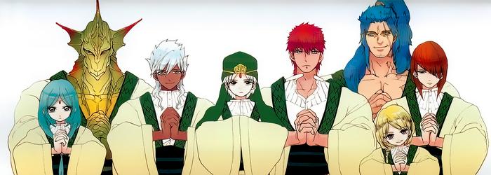 The Eight Generals (from left to right; Yamuraiha, Drakon, Sharrkan, Ja'far, Masrur, Hinahoho, Spartos, Pisti)