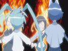 Sasami Mahou Shoujo Club Sasami, Misao, Makoto and Anri using their magic