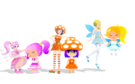 Gdgd Youseis Pikupiku, Shrshr and Korokoro pose (with adult versions)