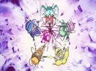 Sasami Mahou Shoujo Club Sasami, Misao, Makoto, Tsukasa and Anri using their magic
